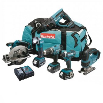 MAKITA DLX6068PT 18V 6 PIECE COMBO KIT WITH 3 X 5.0AH LI-ION BATTERIES AND CHARGER