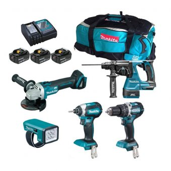Makita DLX5042PT 18v Brushless 5Pc Combo Kit inc 3x 5Ah Batts with Charger