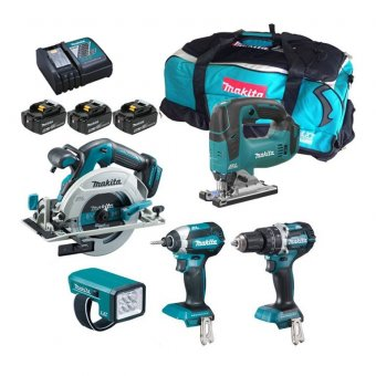 Makita DLX5043PT 18v 5Pc Combo Kit inc 3x 5Ah Batts with Charger