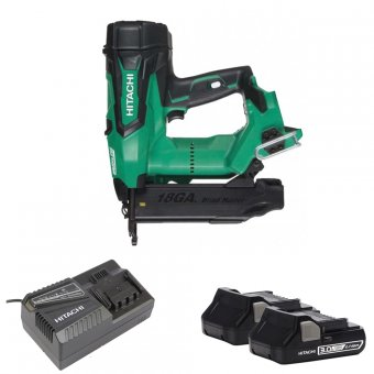 HITACHI NT1850DBSL/JX 18V LI-ION BRUSHLESS 18GA STRAIGHT FINISH NAILER WITH 2 X 3.0AH BATTERIES