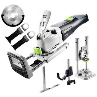 FESTOOL OS400 EQ-PLUS VECTURO OSCILLATING MULTI-TOOL SET WITH PLUNGE AID, DEPTH STOP AND 3 BLADES (563005/563003)