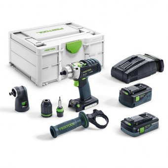 FESTOOL 576471 PDC 18/4 CORDLESS 18V PERCUSSION DRILL QUADRIVE SET, 1X5.2AH & 1X4.0AH BATTERY, RAPID CHARGER, ANGLE CHUCK & NEW SYSTAINER (PDC 18/4 5.2/4.0 I-SET-SCA)