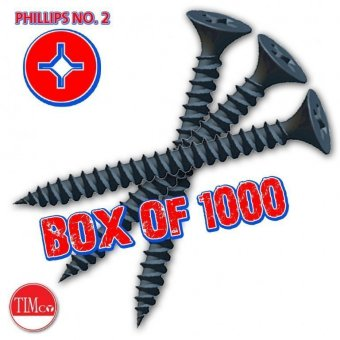 3.5 x 25mm DRYWALL SCREWS BLACK (BOX OF 1000)
