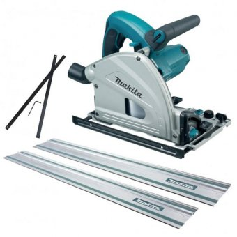 MAKITA SP6000J 165MM PLUNGE SAW KIT WITH 2 X 1.5M GUIDE RAIL AND GUIDE RAIL CONNECTORS