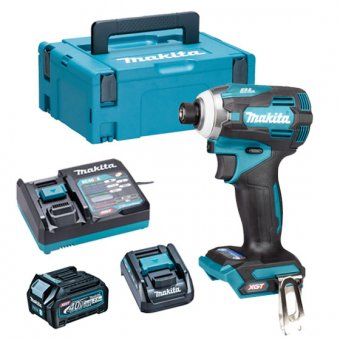 MAKITA TD001GD103 40V MAX XGT BRUSHLESS 4-SPEED, 220NM IMPACT DRIVER WITH 1X2.5AH BATTERY MAKPAC KIT