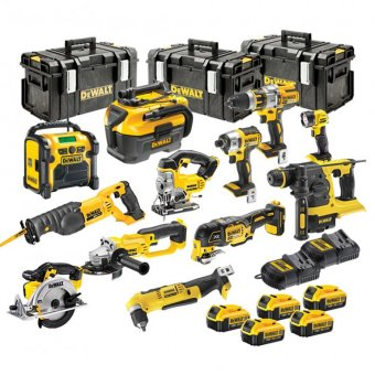 DEWALT 18V XR 12 PIECE KIT WITH 5 X 4.0AH LI-ION BATTERIES, 2 CHARGERS AND 3 X TOUGH SYSTEM BOXES