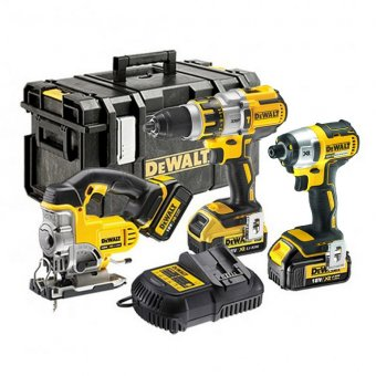 DEWALT 18V XR 3 PIECE KIT WITH 3 X 4.0AH LI-ION BATTERIES AND 1 TOUGH SYSTEM BOX
