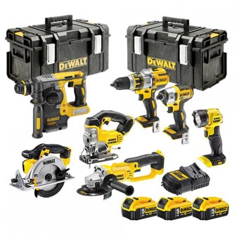 DEWALT 18V XR 7 PIECE KIT WITH 3 X 5.0AH LI-ION BATTERIES AND 2 X TOUGH SYSTEM BOXES