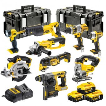 DEWALT 18V XR 9 PIECE KIT WITH 3 X 5.0AH LI-ION BATTERIES AND 2 X TOUGH SYSTEM BOXES