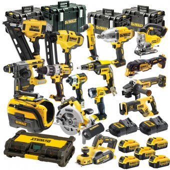 DEWALT 18V XR 17 PIECE PLATINUM KIT WITH 5 X 5.0AH LI-ION BATTERIES, 2 CHARGERS AND 4 X TOUGH SYSTEM BOXES