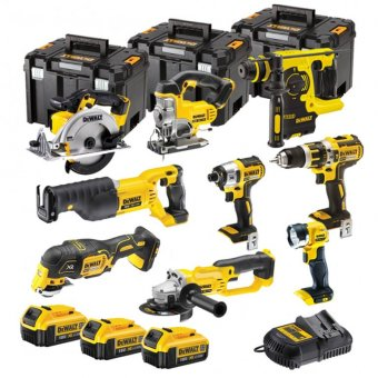 DEWALT 18V XR 9 PIECE KIT WITH 3 X 4.0AH LI-ION BATTERIES AND 3 X TSTAK BOXES