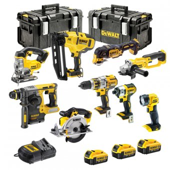 DEWALT 18V XR 9 PIECE KIT WITH 3 X 5.0AH LI-ION BATTERIES, CHARGERS AND 2 X TOUGH SYSTEM BOXES
