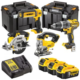 DEWALT 18V 4 PIECE KIT WITH 3 X 5.0AH LI-ION BATTERIES