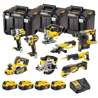 DEWALT 18V XR 10 PIECE KIT WITH 4 X 5.0AH LI-ION BATTERIES AND 2 X TSTAK BOXES