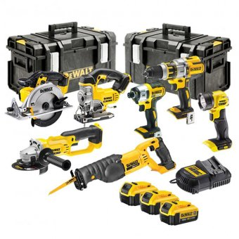 DEWALT 18V XR 7 PIECE KIT WITH 3 X 4.0AH LI-ION BATTERIES AND 2 X TOUGH SYSTEM BOXES