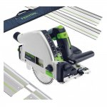 FESTOOL TS55 REQ-PLUS PLUNGE SAW WITH 2x FS/1400 1.4M GUIDE RAIL, 2x CONNECTORS + RAIL BAG