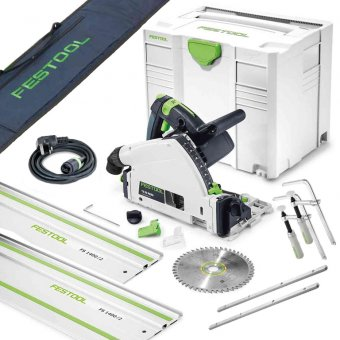FESTOOL TS55 REQ-PLUS 240V PLUNGE SAW WITH 2 x FS/1400 1.4M GUIDE RAIL, 2x CONNECTORS, 2x CLAMPS + RAIL BAG 712657