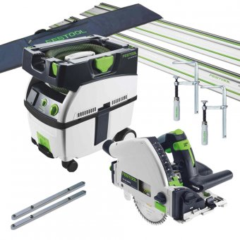 FESTOOL TS55R AND CTL MIDI (MIDI 2018 NEW VERSION) PLUNGE SAW AND DUST EXTRACTOR SET (658163/657162)