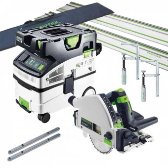 FESTOOL TS55R AND CTL MIDI (MIDI 2019 NEW VERSION) PLUNGE SAW AND DUST EXTRACTOR SET 574835/574836