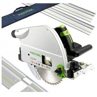 FESTOOL TS75 240V EQ-PLUS PLUNGE SAW WITH 2x FS/1400 1.4M GUIDE RAIL, 2x CONNECTORS + RAIL BAG