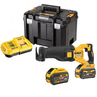 DEWALT DCS389X2-GB 54V FELEXVOLT BRUSHLESS HIGH POWER RECIPROCATING SAW WITH 2X9.0AH BATTERIES, CHARGER & CASE
