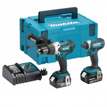 MAKITA DLX2145TJ 18V CORDLESS TWIN KIT DHP458 COMBI DRILL & DTD152 IMPACT DRIVER WITH 2X 5.0AH BATTS, CHARGER & MAKPAC CASE