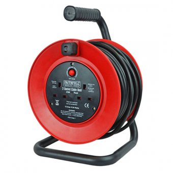 FAITHFULL FPPCR25M OPEN CABLE REEL 240V 25M 13A