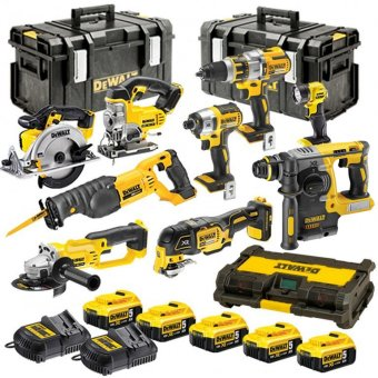 DEWALT 18V XR 10 PIECE KIT WITH 5 X 5.0AH LI-ION BATTERIES AND 2 X TOUGH SYSTEM BOXES