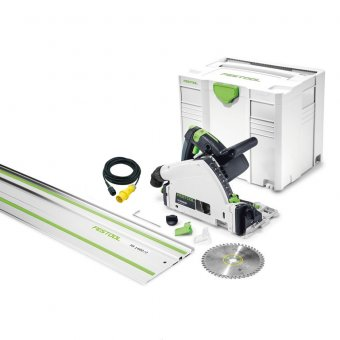FESTOOL 576010 TS55 REQ-PLUS 110V PLUNGE SAW WITH FS/1400 1.4M GUIDE RAIL
