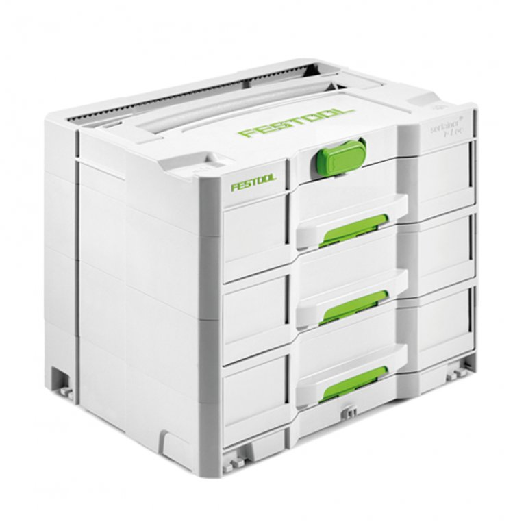 Festool 200119 sys4tl sort 3 396 x 296 x 32 three drawers systainer - Casier metal rangement ...